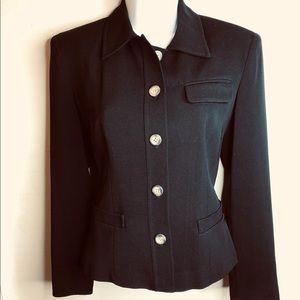 KENAR Black Lined Button-Down Fitted Jacket